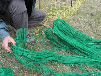 緑のネットがスカートネット