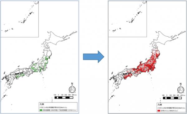 ハクビシンの生息分布エリアの拡大(2002年→2017年)